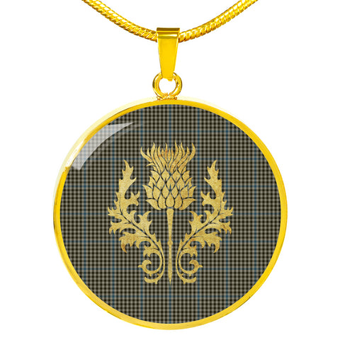 Haig Check Tartan Circle Necklace Thistle Gold Hj4