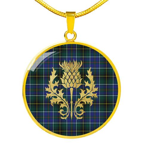 MacInnes Modern Tartan Circle Necklace Thistle Gold Hj4