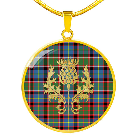 Image of Aikenhead Tartan  Circle Necklace Thistle Gold Hj4