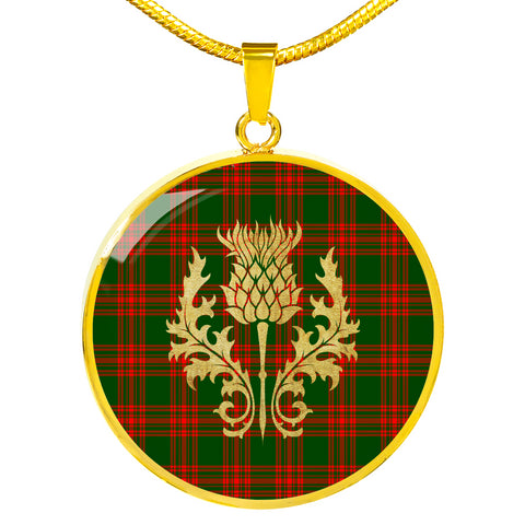 Menzies Green Modern Tartan Circle Necklace Thistle Gold Hj4