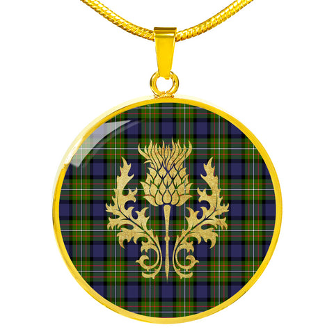 Fergusson Modern Tartan Circle Necklace Thistle Gold Hj4