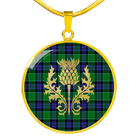 Image of Graham of Menteith Modern Tartan Circle Necklace Thistle Gold Hj4