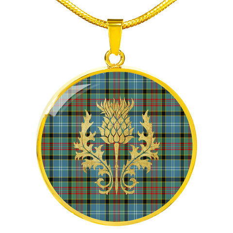 Paisley District Tartan Circle Necklace Thistle Gold Hj4