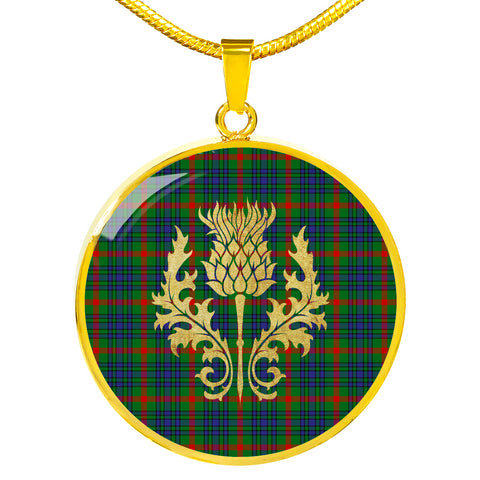 Image of Aiton Tartan Circle Necklace Thistle Gold Hj4