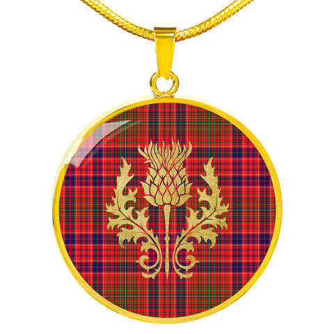 Lumsden Modern Tartan Circle Necklace Thistle Gold Hj4