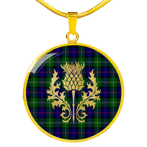 Image of MacThomas Modern Tartan Circle Necklace Thistle Gold Hj4
