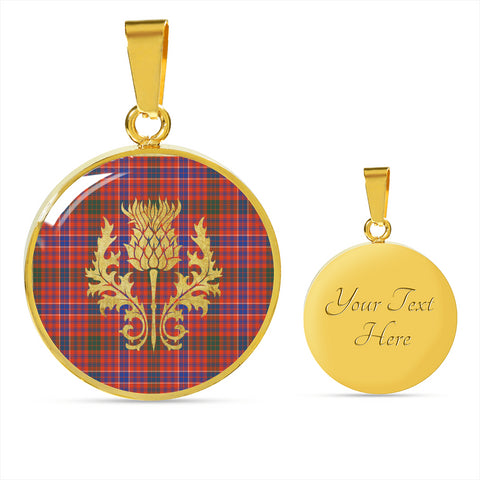 MacRae Ancient Tartan Circle Necklace Thistle Gold Hj4