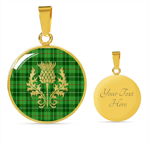 Galloway District Tartan Circle Necklace Thistle Gold Hj4