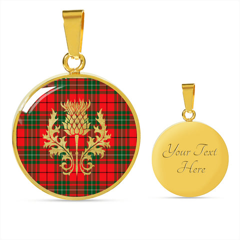 Image of MacAulay Modern Tartan Circle Necklace Thistle Gold Hj4