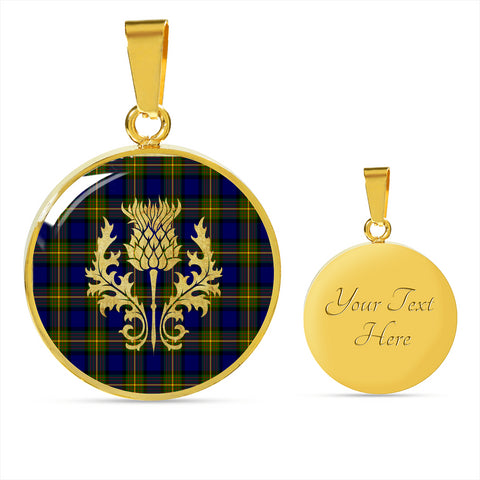Image of Muir Tartan Circle Necklace Thistle Gold Hj4
