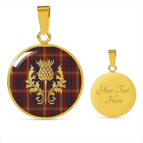Ainslie Tartan Circle Necklace Thistle Gold Hj4