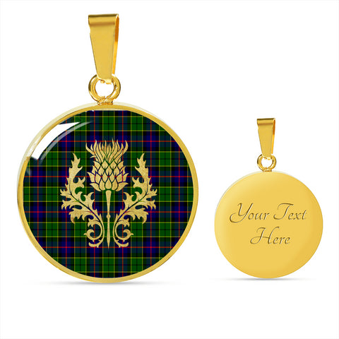 Image of Forsyth Modern Tartan Circle Necklace Thistle Gold Hj4