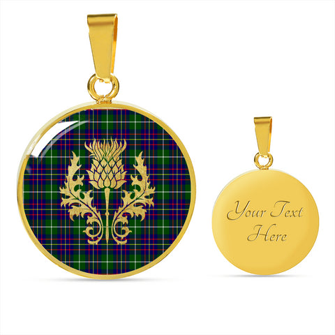 Inglis Modern Tartan Circle Necklace Thistle Gold Hj4