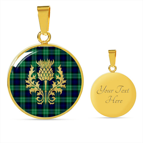 Abercrombie Tartan Circle Necklace Thistle Gold Hj4