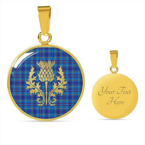 Mercer Modern Tartan Circle Necklace Thistle Gold Hj4