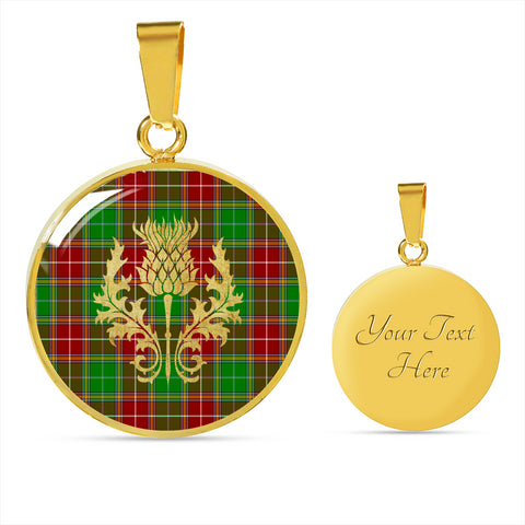 Baxter Modern Tartan  Circle Necklace Thistle Gold Hj4