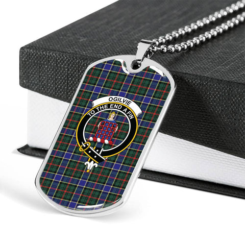 Ogilvie Hunting Modern Tartan Dog Tag - Tartan Clan Crest Silver/Golden Dog Tag HJ4