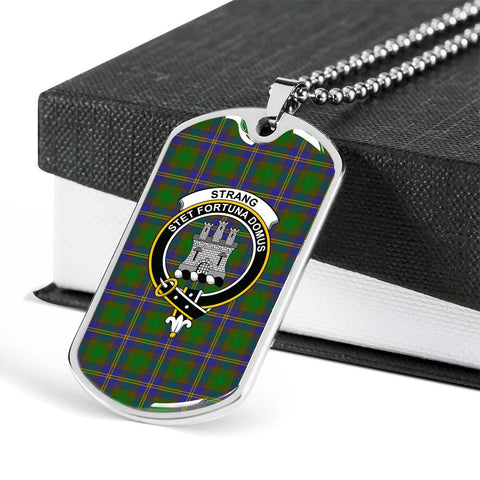 Image of Strange of Balkaskie Tartan Dog Tag - Tartan Clan Crest Silver/Golden Dog Tag HJ4