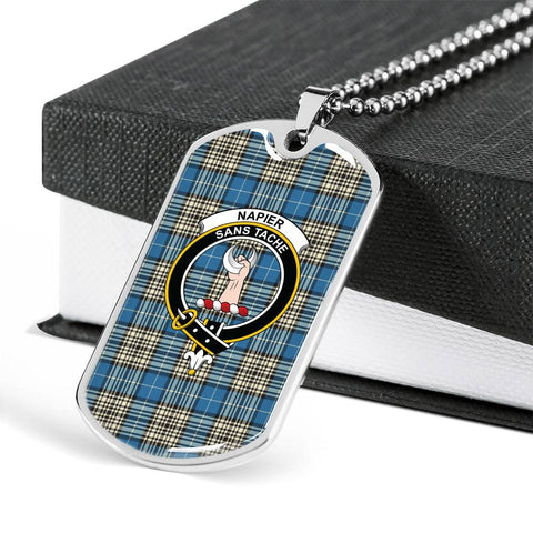 Napier Ancient Tartan Dog Tag - Tartan Clan Crest Silver/Golden Dog Tag HJ4