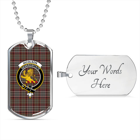 Nicolson Hunting Weathered Tartan Dog Tag - Tartan Clan Crest Silver/Golden Dog Tag HJ4