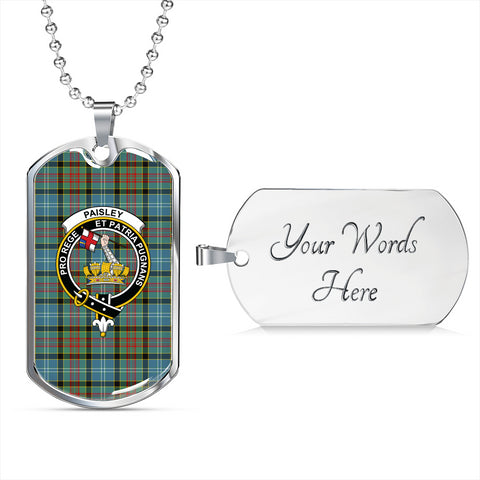 Image of Paisley District Tartan Dog Tag - Tartan Clan Crest Silver/Golden Dog Tag HJ4