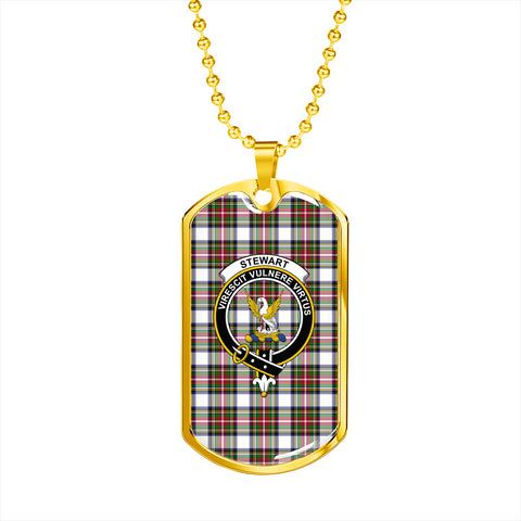 Stewart Dress Modern Tartan Dog Tag - Tartan Clan Crest Silver/Golden Dog Tag HJ4