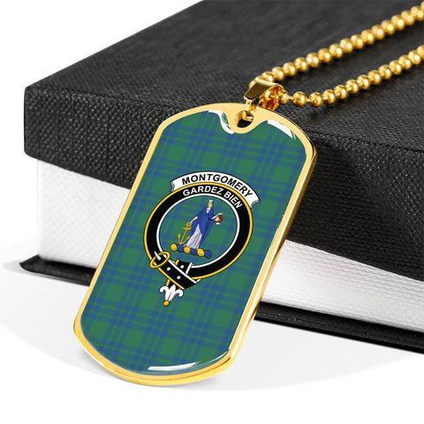 Montgomery Ancient Tartan Dog Tag - Tartan Clan Crest Silver/Golden Dog Tag HJ4