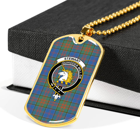 Stewart of Appin Hunting Ancient Tartan Dog Tag - Tartan Clan Crest Silver/Golden Dog Tag HJ4