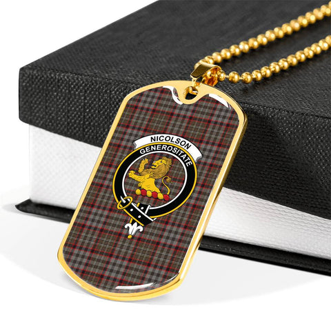 Image of Nicolson Hunting Weathered Tartan Dog Tag - Tartan Clan Crest Silver/Golden Dog Tag HJ4