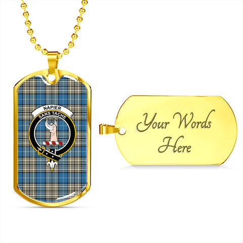 Image of Napier Ancient Tartan Dog Tag - Tartan Clan Crest Silver/Golden Dog Tag HJ4