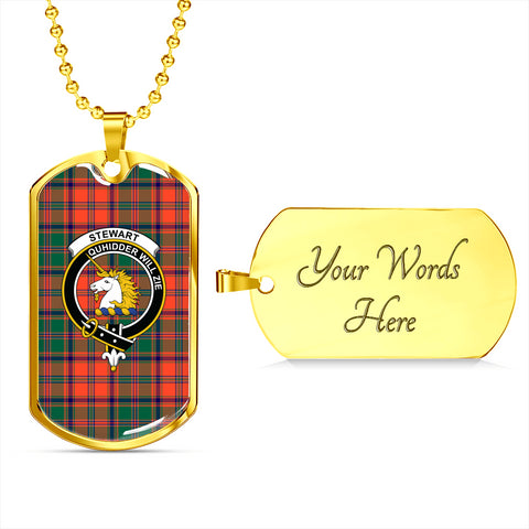 Image of Stewart of Appin Ancient Tartan Dog Tag - Tartan Clan Crest Silver/Golden Dog Tag HJ4