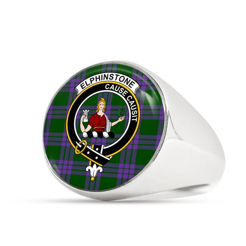 Image of Elphinstone Tartan Crest Ring Th8