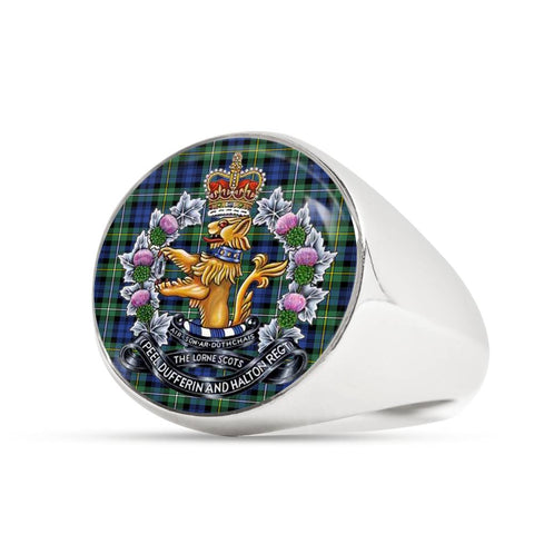 Image of Campbell Argyll Ancient Tartan Lorne Scots Regiment Crest Ring TH8