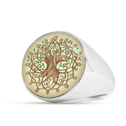 Image of Celtic Jewelry - The Tree Of Life Silver (Golden) Rings A9