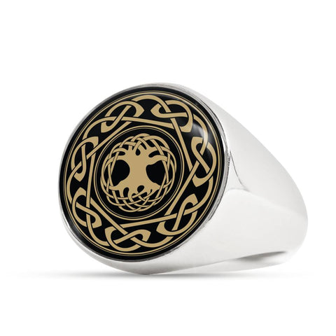 Image of Celtic Tree Pattern Crest Ring,Celtic Tree Ring, celtic ring, celtic tree, celtic pattern