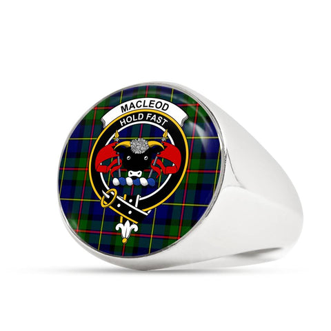 Image of MacLeod Tartan Crest Ring Th8