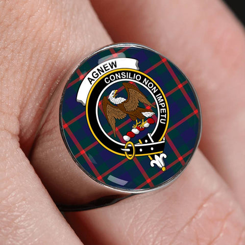 Agnew Modern Tartan Crest Ring Th8