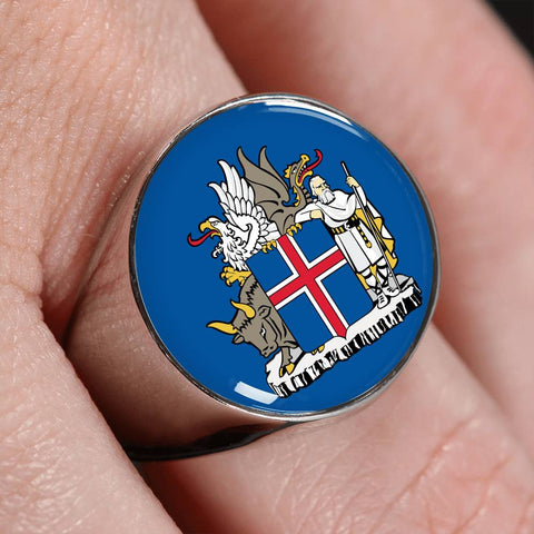 Image of Iceland Coat Of Arms Gold/Silver Ring A4