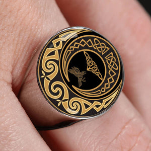 Falcon And Moon Celtic Crest Ring,Falcon Celtic, Moon Celtic,Ring, Falcon Celtic ring, moon celtic ring, celtic ring,celtic