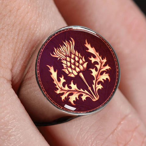 Lonely Scottish Thistle Gold/Silver Ring | Special Custom Design