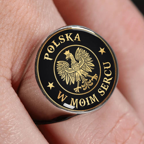 Image of Poland In My Heart Gold/Silver Ring | Special Custom Design