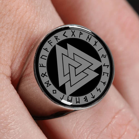 Image of Viking Valknut Gold/Silver Ring A4