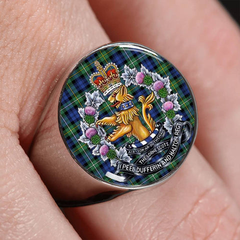 Image of Campbell Argyll Ancient Tartan Lorne Scots Regiment Crest Ring