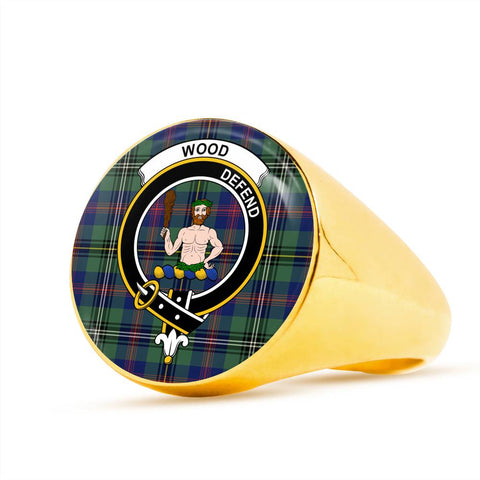Wood Tartan Crest Ring Th8