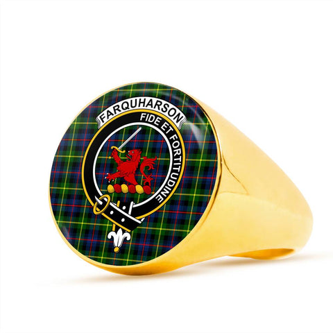 Image of Farquharson Modern Tartan Crest Ring Th8