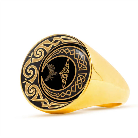 Image of Falcon And Moon Celtic Crest Ring,Falcon Celtic, Moon Celtic,Ring, Falcon Celtic ring, moon celtic ring, celtic ring,celtic