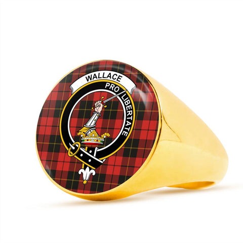 Wallace Weathered Tartan Crest Ring Th8