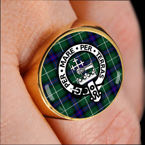 Image of MacDonald of the Isles Tartan Crest Ring Th8