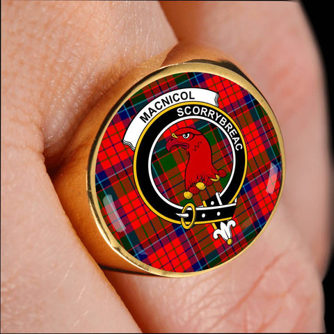 Image of MacNicol (of Scorrybreac) Tartan Crest Ring Th8