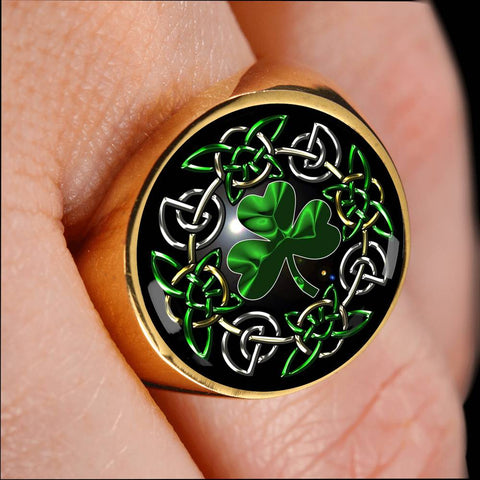 Image of Celtic Shamrock Gold/Silver Ring | Hot Sale | Ireland Shamrock